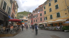 Walking on Via Agostino del Santo in Vernazza village, Cinque Terre Stock Footage