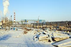 Timber mill. winter season Stock Photos
