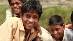 Smiling Kids in an Indian Village. - stock footage