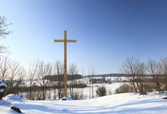 Stock Photo of wooden crosses . Christianity