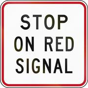 New Zealand road sign RG-30 - Stop on red signal - stock illustration