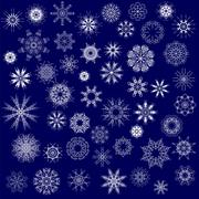 Different Winter Snowflakes - stock illustration
