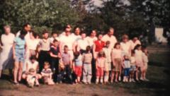 Summer Family Reunion Group Picture-1959 Vintage 8mm film - stock footage