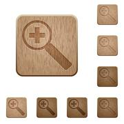 Zoom in wooden buttons - stock illustration