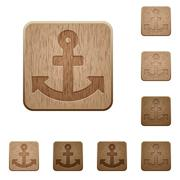 Anchor wooden buttons - stock illustration