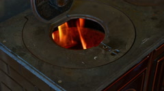 View of a Old style stove. Stock Footage