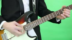 hand of guitarist , extract music from a string - stock footage