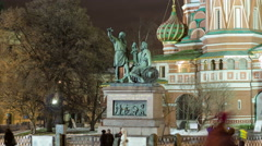 St. Basils cathedral and monument to Minin and Pozharsky timelapse hyperlapse in Stock Footage