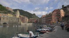 Small boats in Piazza Guglielmo Marconi, Vernazza, Cinque Terre Stock Footage