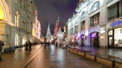 Winter view of Nikolskaya street timelapse hyperlapse in Moscow,Russia Stock Footage