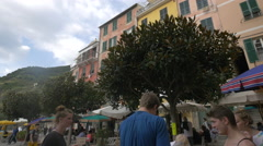 Beautiful trees and old buildings in Guglielmo Marconi Square, Cinque Terre Stock Footage