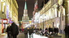 Winter view of Nikolskaya street timelapse in Moscow,Russia Stock Footage