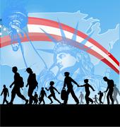 .american people silhouette immigration background Piirros