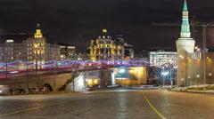 Bolshoy Moskvoretsky Bridge at winter night timelapse Moscow Stock Footage