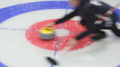 Stock Video Footage of Curling. Throw a stone on ice.