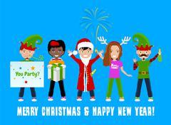 People Celebrating Christmas Stock Illustration