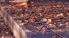 Sweeping dried autumn leaves at a wooden balkony Stock Footage