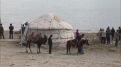 Kyrgyz yurt, tourists, Xinjiang, China Stock Footage