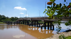 Bridge over the Saramacca Rivier Stock Footage