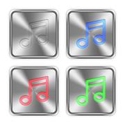 Color music steel buttons - stock illustration