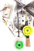 closeup ice fishing tackles and equipment - stock photo
