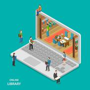 Online library flat isometric vector concept. - stock illustration