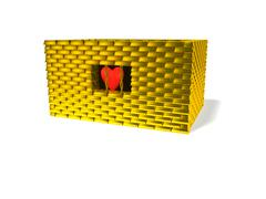 Heart in gold cage - stock illustration