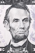 Portrait of Abraham Lincoln on five dollars Stock Photos