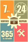 Repair fix tool icons. 24h 7 day customer support service - stock illustration