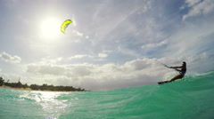 Kitesurfing in Hawaii. Summer Extreme Sports. Stock Footage