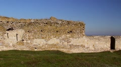 The ruins of medieval fortress Yeni-Sale (enclosure walls) in Dobrogea, Romania - stock footage