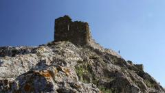The ruins of medieval fortress Yeni-Sale (Enisala) in Dobrogea, Romania Stock Footage