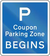 New Zealand road sign - Coupon parking zone begins Stock Illustration
