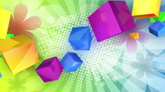 Colourful Cubes 3d Abstract Blue Color Cube Apart Art Blocks Bricks Coordinated Stock Footage