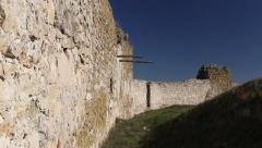 The ruins of medieval fortress Yeni-Sale (enclosure walls) in Dobrogea, Romania Stock Footage