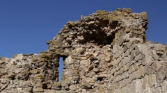 The ruins of medieval fortress Yeni-Sale (defense tower) in Dobrogea, Romania Stock Footage