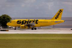 A Spirit Airlines Airbus A320 taxiing Stock Photos