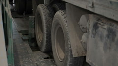 The wheels of the truck and off the rack Stock Footage