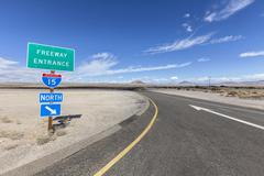 Interstate 15 Desert Freeway Entrance in the Mojave National Preserve - stock photo