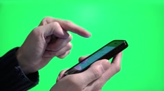 Email check on Iphone on a green screen background Stock Footage