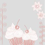Cupcake postcard Doodle style - stock illustration