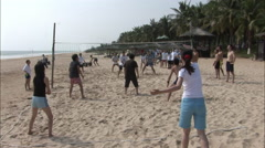 Chinese beach volleyball game, Hainan, China Stock Footage