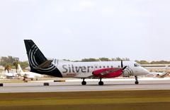 A Silver Airways Saab 340B aircraft - stock photo