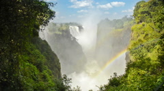 Victoria Falls Devils Cataract or Mosi-oa-Tunya waterfall in southern Africa Stock Footage