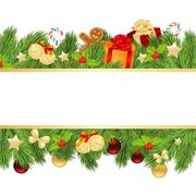 christmas template with fir - stock illustration