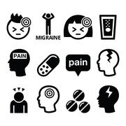 Headache, migraine - medical vector icons set - stock illustration