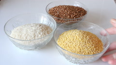 Rice, buckwheat and millet. - stock footage
