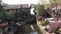 Canal in Lijiang Old Town, China Stock Footage