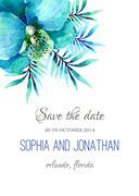 Wedding invitation watercolor Stock Illustration