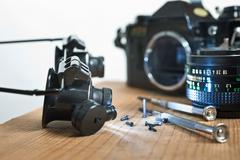 Reparation of old camera Stock Photos